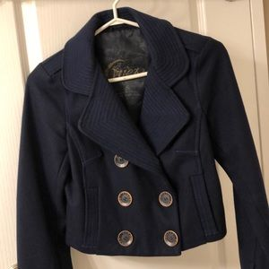 Guess Navy blue Wool cropped coat